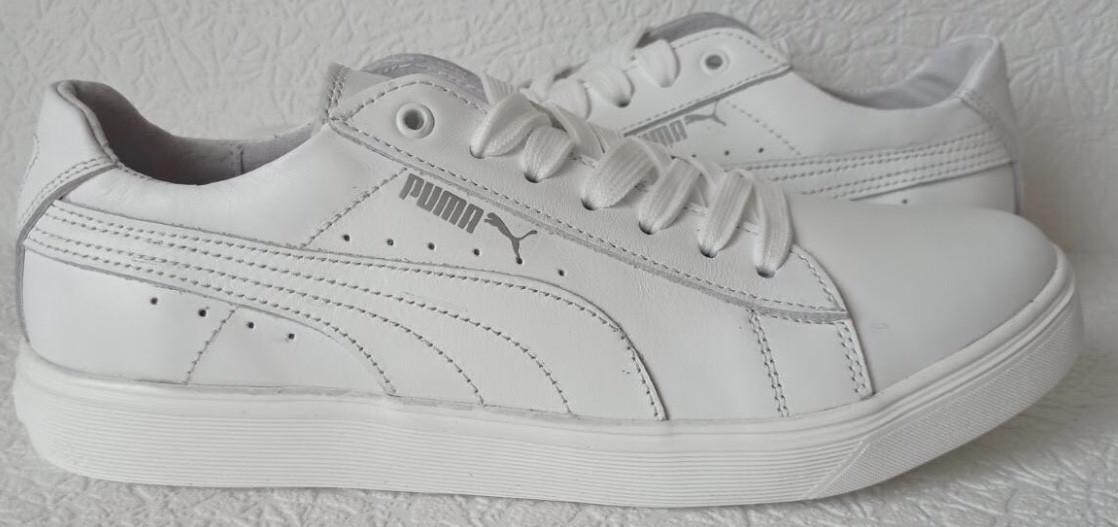 Puma classic! Мужские кроссовки кеды  натуральная белая кожа в стиле Пума классик!