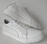 Puma classic! Мужские кроссовки кеды  натуральная белая кожа в стиле Пума классик!, фото 2