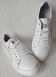 Puma classic! Мужские кроссовки кеды  натуральная белая кожа в стиле Пума классик!, фото 3