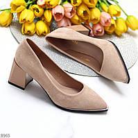 Женственные розовые пудра замшевые женские туфли на удобном каблуке