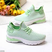 Ультра модные текстильные светлые мятные женские кроссовки 2021