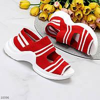 Молодежные текстильные эластичные спортивные красные женские босоножки