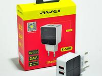 Сетевой адаптер для зарядки портативной техники Awei C500 черная/белая, 2 usb, 12Вт, 2,4А, зарядное Awei