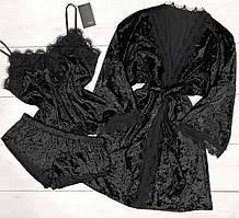 Черный велюровый халат и пижама майка и шорты с кружевом, комплект для дома.