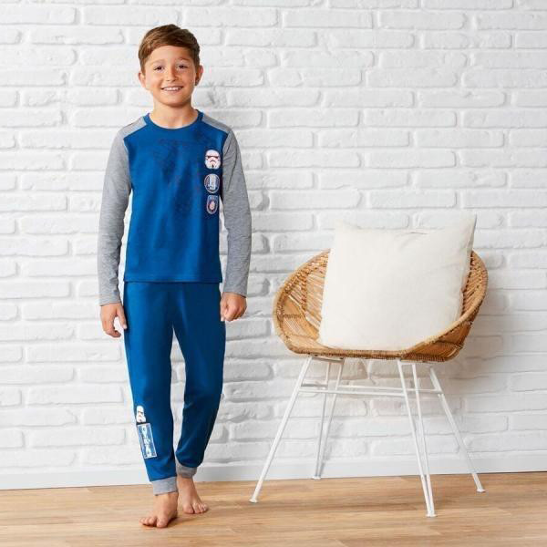 Пижама для мальчика, рост 98/104, цвет синий и серый