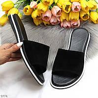 Актуальные черные замшевые женские шлепки шлепанцы натуральная замша