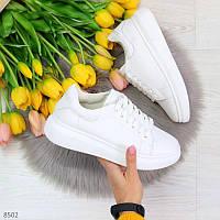 Модельные белые женские кроссовки кеды крипперы из натуральной кожи