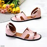 Босоножки женские розовые / пудра эко кожа, фото 2