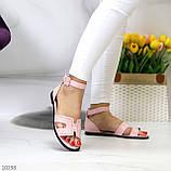 Босоножки женские розовые / пудра эко кожа, фото 4