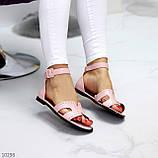 Босоножки женские розовые / пудра эко кожа, фото 6