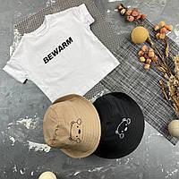 Детская футболка белая с принтом BEWARM