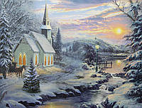 Светящаяся картина зимний дом у леса со светящимися окнами, 30х40 см (940140)