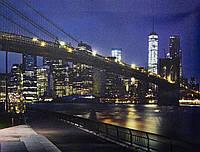 Светящаяся картина ночной город с яркими светящимися зданиями, 30х40 см (940188)