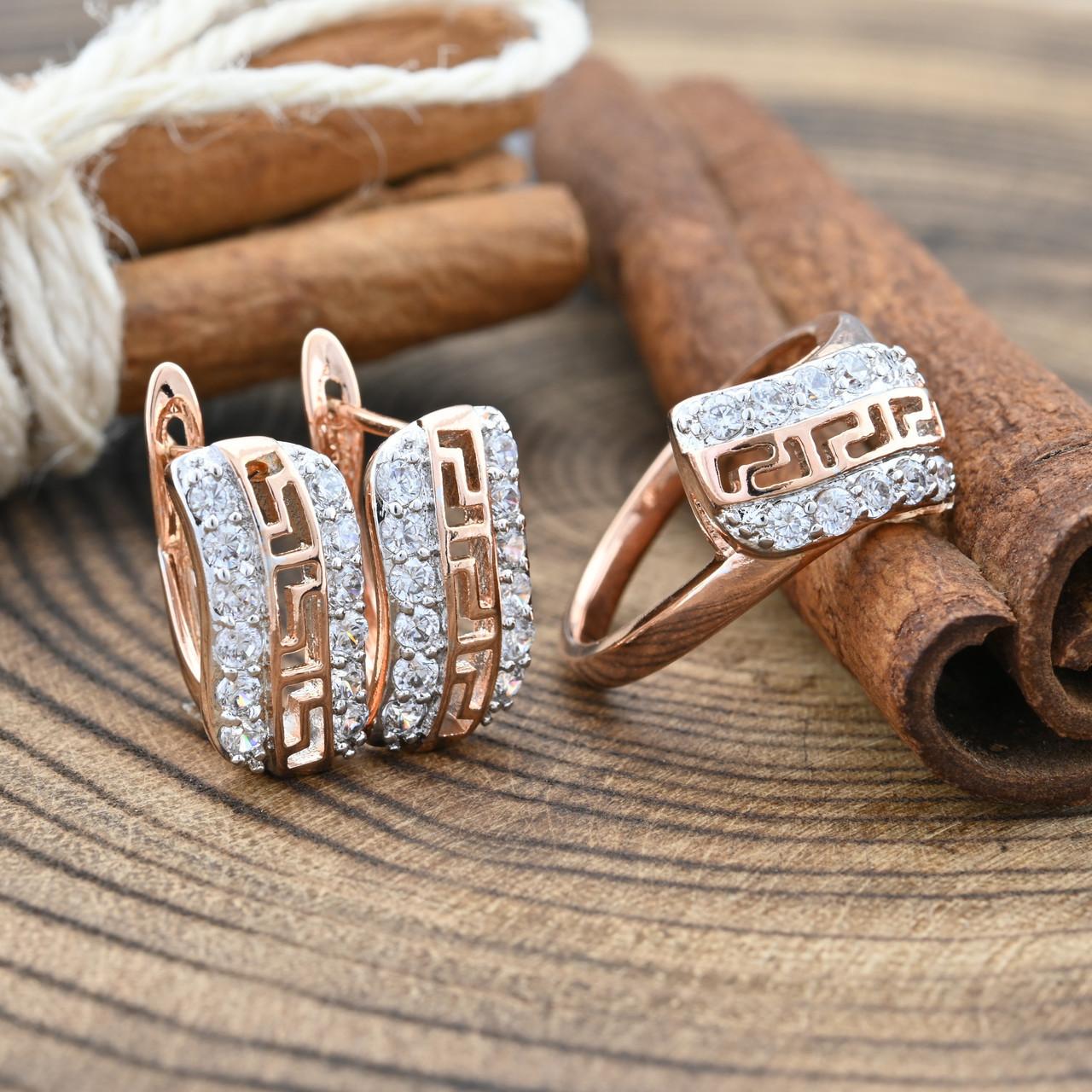 Набор Xuping с родированием 65091 кольцо + серьги 17х7 мм белые фианиты позолота РО размер 20