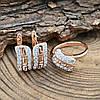 Набор Xuping с родированием 65091 кольцо + серьги 17х7 мм белые фианиты позолота РО размер 20, фото 2