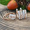 Набор Xuping с родированием 65091 кольцо + серьги 17х7 мм белые фианиты позолота РО размер 20, фото 3