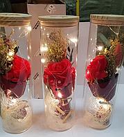 Роза в колбе с LED Подстветкой 25 См - Лучший Подарок!   Стабилизированная роза искусственная