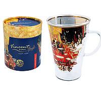 Кружка стеклянная Carmani Ван Гог «Ночная терраса кафе», h-13 см, 400 мл