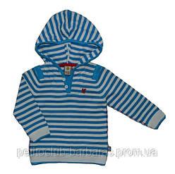 Дитячий бавовняний светр з капюшоном в кремово-блакитну смужку (р. 116-152) (Quadrifoglio, Польща)
