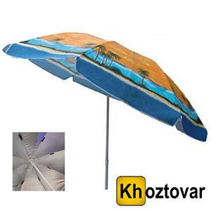 Пляжный складной зонт с наклоном, напылением и клапаном HY-110MW | Усиленные спицы ромашка | 2,2 м