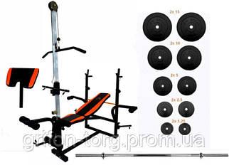 Скамья для жима с верхней тягой и тренажерами + штанга 75 кг RN-Sport