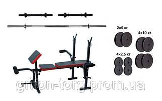 Скамья с тренажерами + набор силовой на 70 кг Rn-Sport