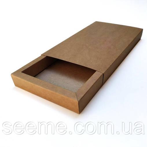Коробка подарочная из крафт картона 192х110х20 мм, внутренние размеры 170х90х20 мм