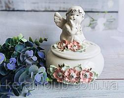 Скринька Керамклуб Ангелок квіткова ліплення 15*15*16