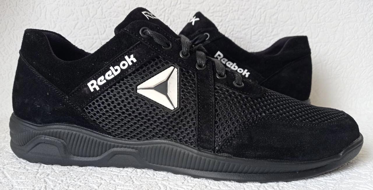 Баталы! Reebok летние черные с белым мужские кроссовки большого размера сетка! Супер Новинка!