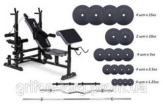 Скамья для жима TX-075, 4 грифа, 115 кг блинов RN-Sport