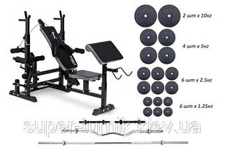 Скамья для жима TX-075, 4 грифа, 62 кг блинов RN-Sport