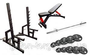 Профессиональная скамья со стойками RN-Sport black rock + Олимпийская штанга 120 кг