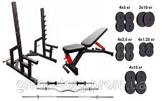 Профессиональная скамья со стойками RN-Sport black rock + 4 грифа, 115 кг блинов