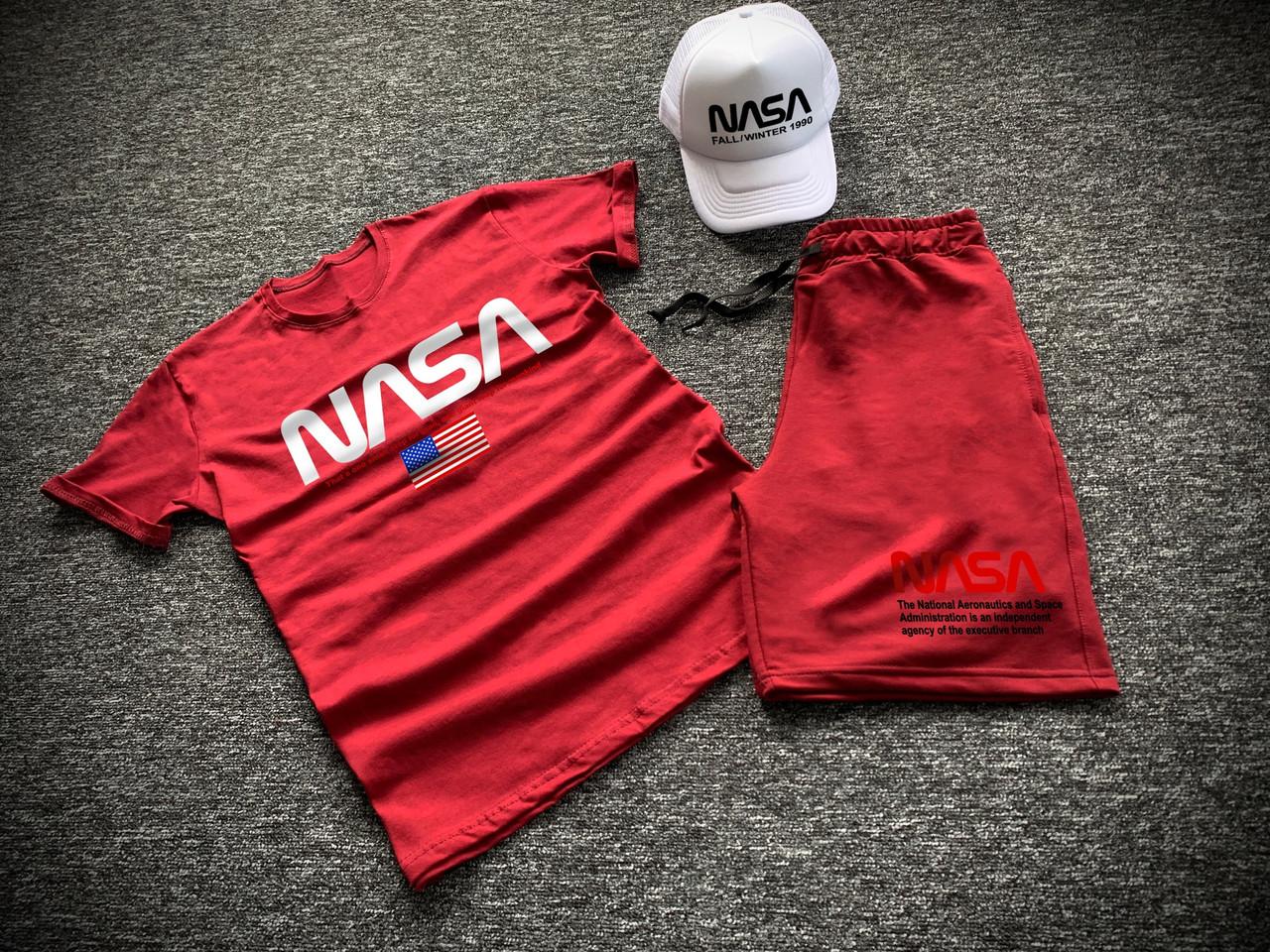 Комплект футболка шорти + бейсболка Nasa чоловічий червоний | Літній набір ЛЮКС якості