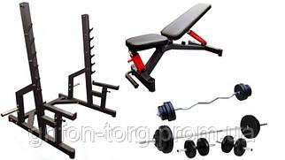 Профессиональная скамья со стойками RN-Sport black rock + 4 грифа, 80 кг блинов