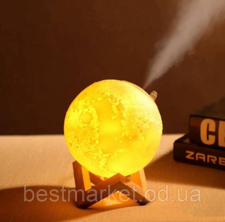 Зволожувач Повітря і Світильник у вигляді Місяця 2 в 1 3D Moon Light