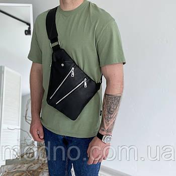 Мужская кожаная нагрудная сумка слинг через плечо чёрная