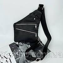 Чоловіча шкіряна нагрудна сумка слінг через плече чорна, фото 2
