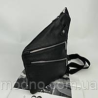Чоловіча шкіряна нагрудна сумка слінг через плече чорна, фото 4