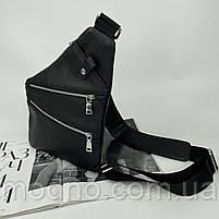 Чоловіча шкіряна нагрудна сумка слінг через плече чорна, фото 5
