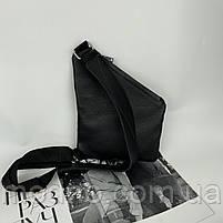 Чоловіча шкіряна нагрудна сумка слінг через плече чорна, фото 6