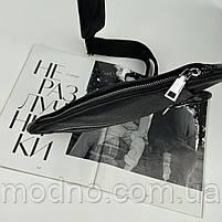 Чоловіча шкіряна нагрудна сумка слінг через плече чорна, фото 7
