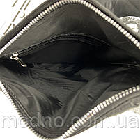 Чоловіча шкіряна нагрудна сумка слінг через плече чорна, фото 8