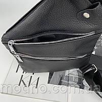 Чоловіча шкіряна нагрудна сумка слінг через плече чорна, фото 9