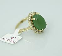 Женское позолоченное кольцо Xuping с салатовым камнем. Ювелирная бижутерия с позолотой 18К оптом. 2