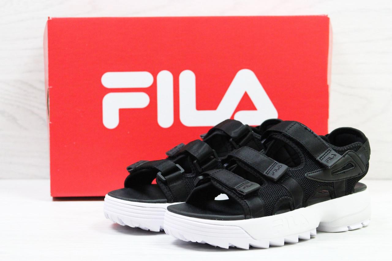 Жіночі босоніжки Fila (чорно-білі) B10516 крута легка літня взуття