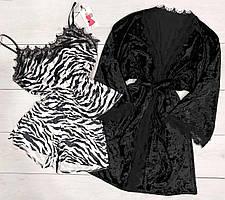 Велюровый комплект халат+пижама, домашняя одежда.
