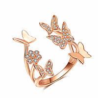 """Женское кольцо """"Бабочка"""", медсплав, кольцо золотого цвета, кольцо с бабочками СС1749-65"""