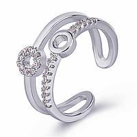 Женское кольцо с стразами, медсплав, яркое кольцо, двойное кольцо с кружочками СС1742-75