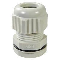 Ввод кабельный M20x1.5 под кабель (10-14мм) IP68 (серый) пластик (Haupa) 250046